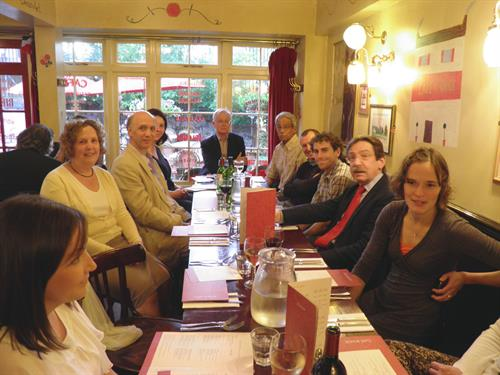 The course dinner for staff and trainees at the Café Rouge