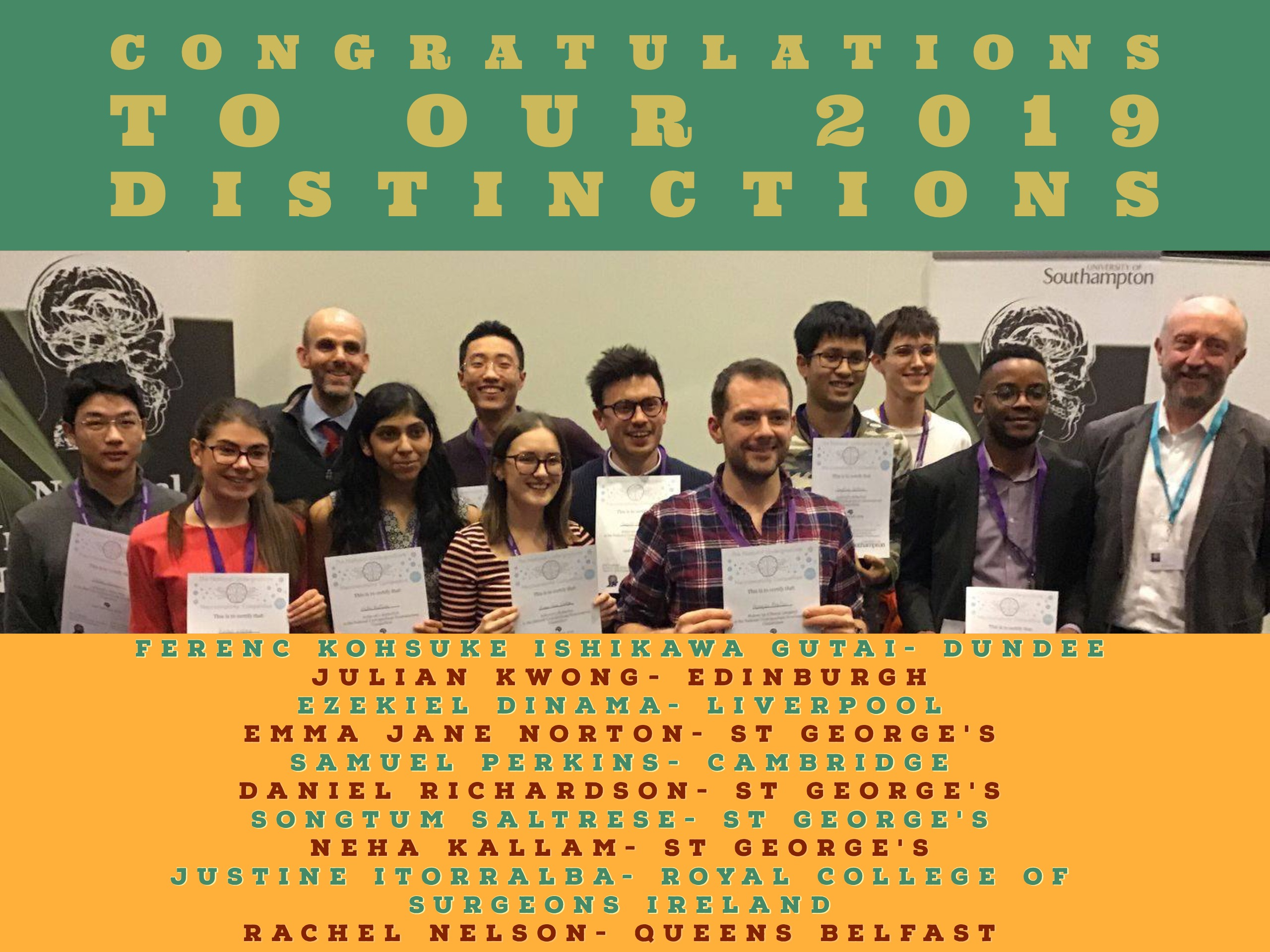 NUNC 2019 Distinction winners
